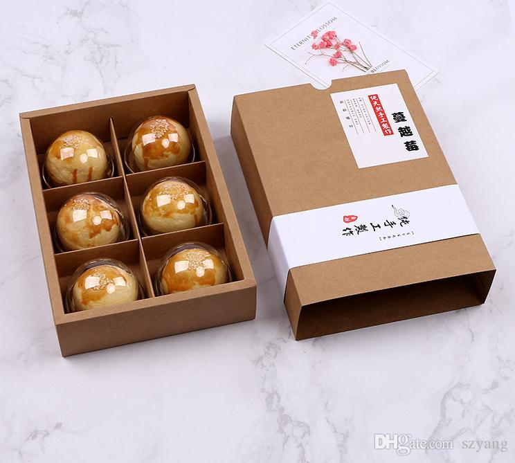6 Cavity Kraft Paper Cookie Cake Packaging Box Candy Biscuit Chocolate Paper Carton Cardboard Gift Box SN2618