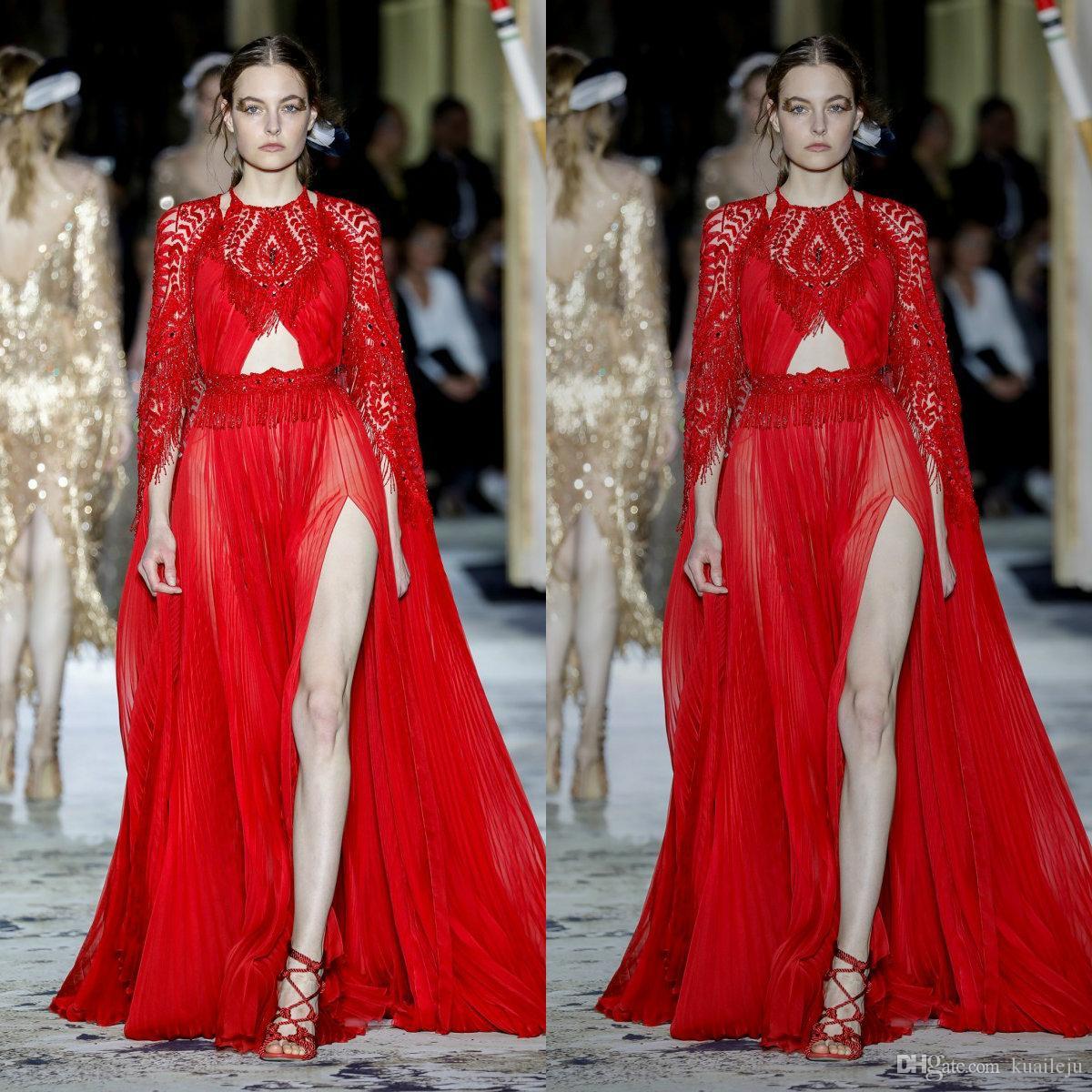 Dress Zuhairmurad Red Customized sera della sirena manica lunga vestito convenzionale di Tulle Applique del merletto di cristallo nappa Split partito damigella d'onore