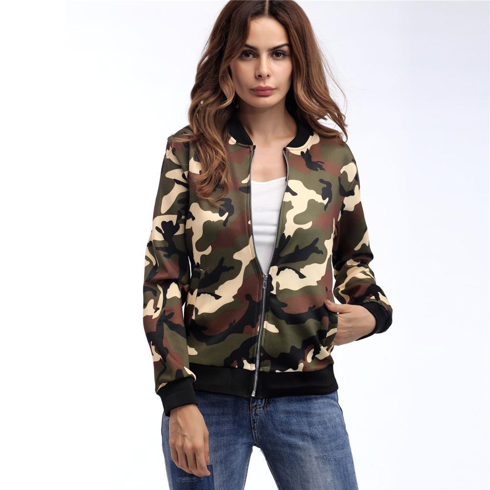 Kadınlar Günlük Kamuflaj Bombacı Ceket 2019 Sonbahar Kış Kısa İnce Dış Giyim Uzun Kollu Fermuar Kat Kabanlar Streetwear Cepler