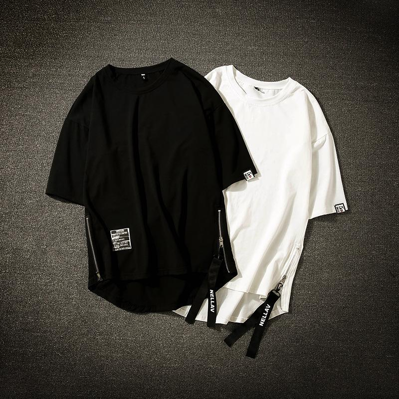Homem Algodão Branco Streetwear 2020 Half Men de Moda mangas t-shirt legal Homme Hip Hop Side-zipper Homens Preto Camisetas M-3XL