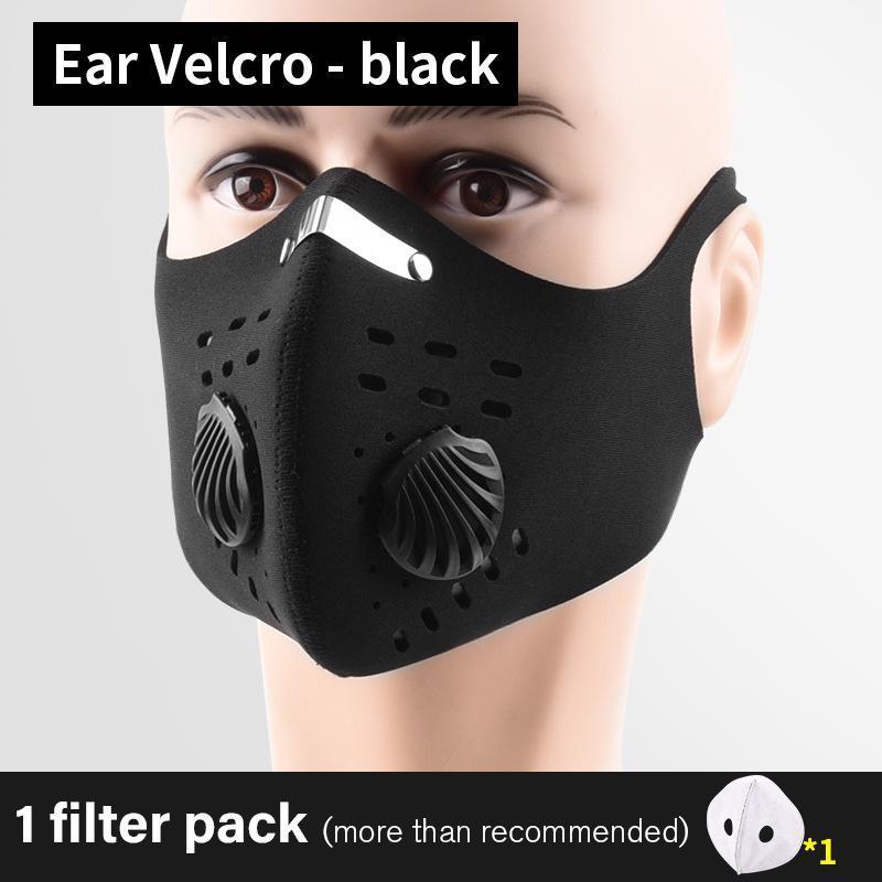 Маски DHL Велоспорт Защитные лица с фильтром Черный активированным углем PM2.5 Anti-запыления Спорт Бег Обучение Велосипед многоразовые маски