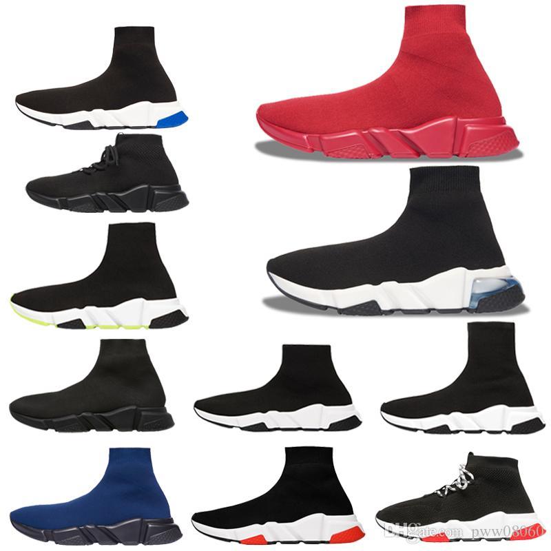 2020 zapatos corrientes nuevos calcetín velocidad de alta velocidad Quality Trainer de los hombres de las zapatillas de deporte de velocidad Stretch Knit del Medio Top Calzado casual 39-47 Negro Blanco