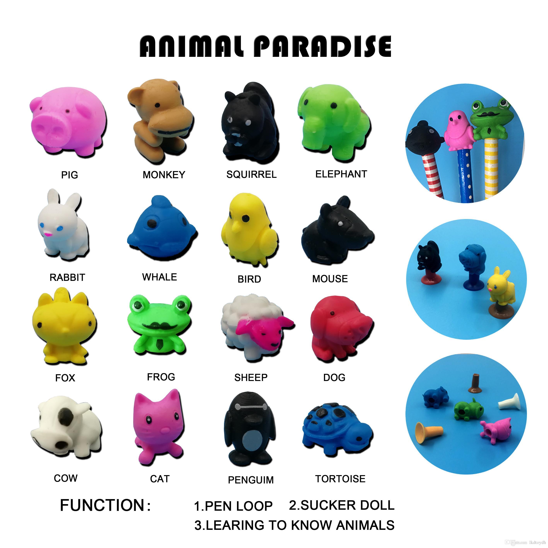 Cute Animals Pen Cap Funny Cartoon TPR Pen Decoration Desktop Car Props toys Small Grift For Children Kids