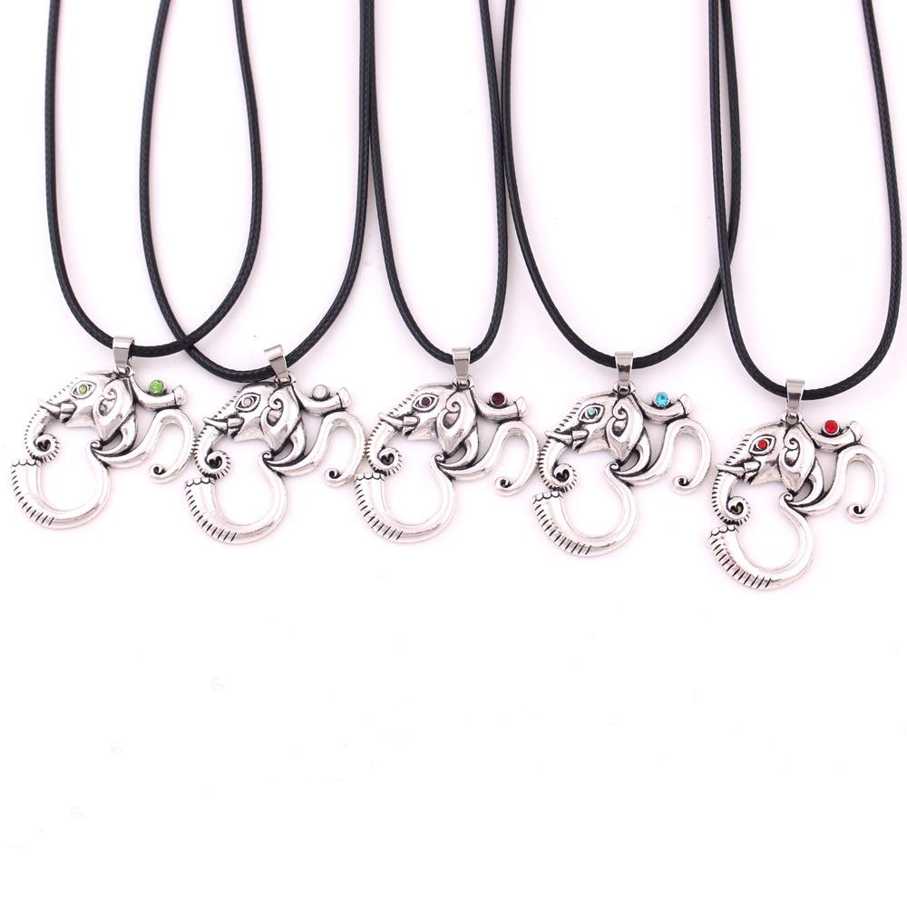 Animal Jewelry elephant Om Ganesh Pendant Necklace Hindu Yoga Religious Talisman Black Leather chain elephant Necklace