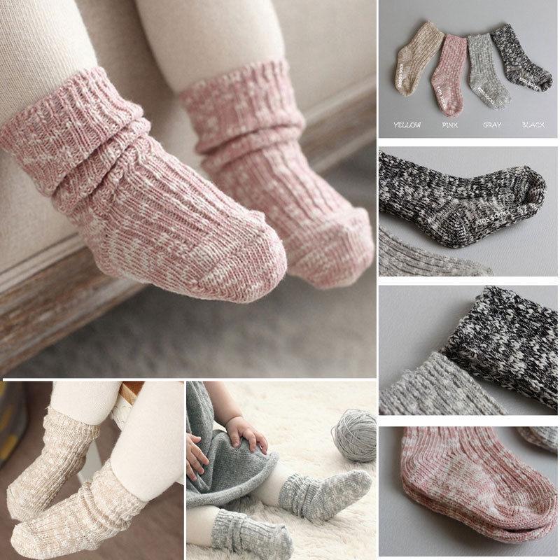 Новые детские носки сплошной цвет конфеты хлопок детские анти-скольжения теплые мягкие носки для мальчика девочка малыш 0-4T