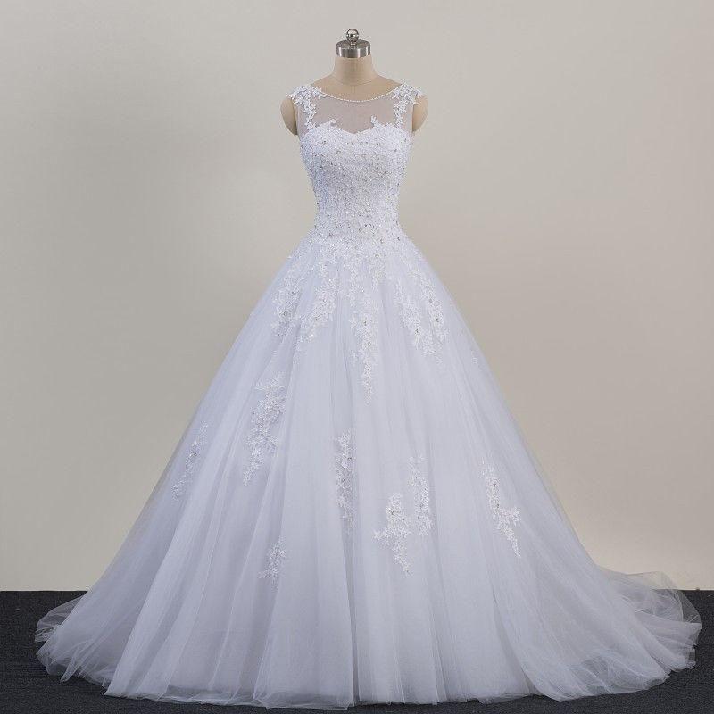 Manches décalcomanie robe blanche robe de mariée A-ligne mariage longueur perles étage robe de mariée ivoire robes de mariage de l'église
