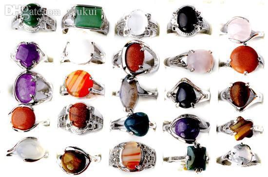5pcs-misto de atacado Turquesa Silver Plated tibetanos Anéis Pedra Natural Vintage