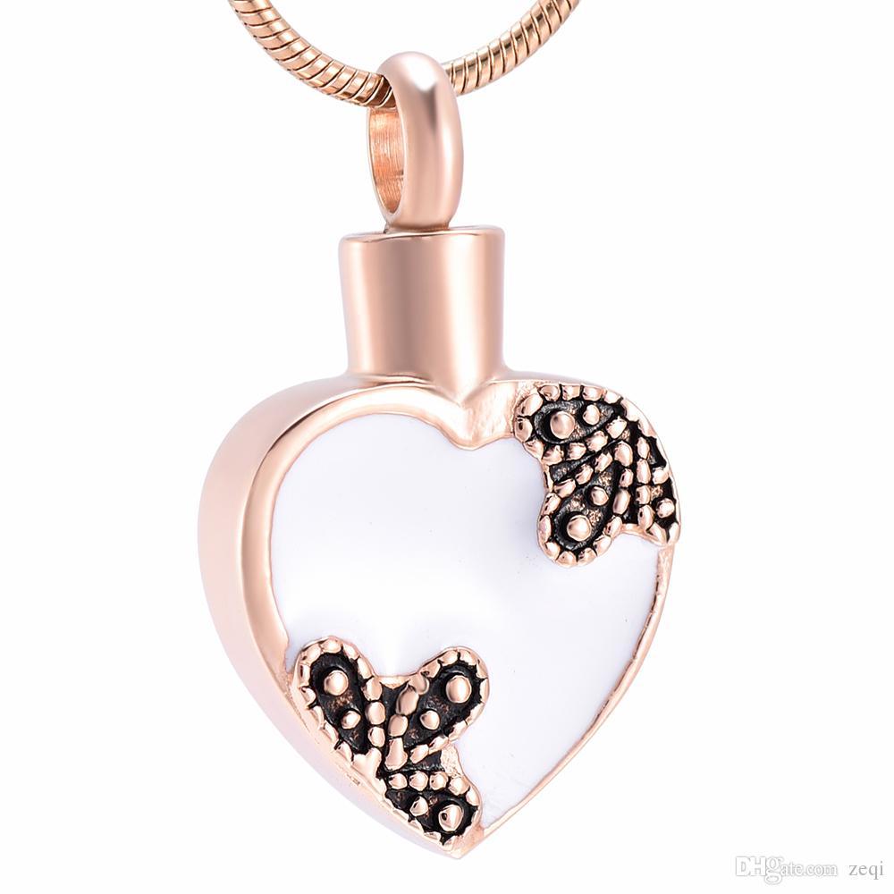 LkJ10011 il nuovo disegno di arrivo del cuore di amore del fiore della Rosa di collana urna per le ceneri Memorial Keepsake cremazione Pendente con imbuto libero