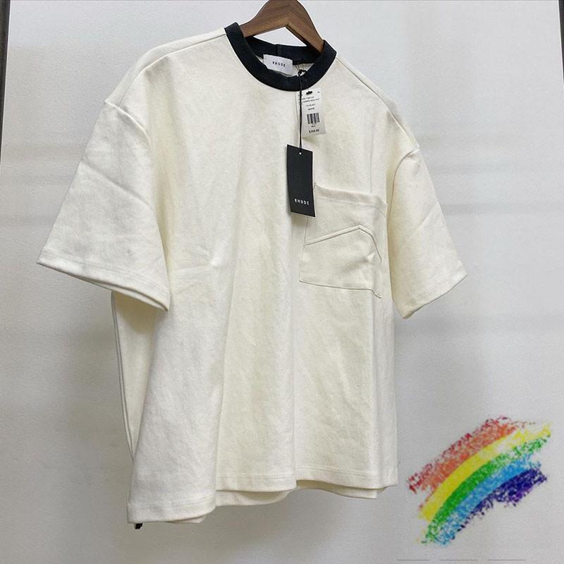 2020ss Rhude T-shirt Homme Femme 1: 1 de haute qualité Fashion Casual en vrac de poche Rhude T-shirts T-shirts Top T200219