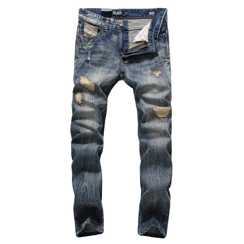 Moda Classica Uomo Jeans Vintage jeans strappati Uomini diritto misura 100% cotone homme Streetwear Hip Hop Pantaloni hombre