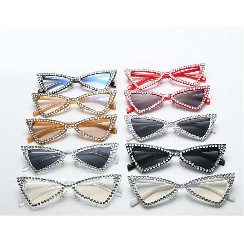 Mincl / Diamant Dreieck Sonnenbrille Frauen Marke Luxus Kristall Katze Sonnenbrille für Dame Kleine Größe Schwarz Shades Eyewear FML