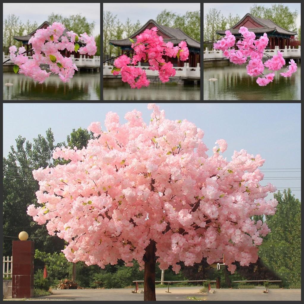 1 m de long faux fleurs de cerisier Branche Fleur Begonia Sakura Arbre Stem pour Arbre de mariage événement Déco Fleurs artificielles décoratives