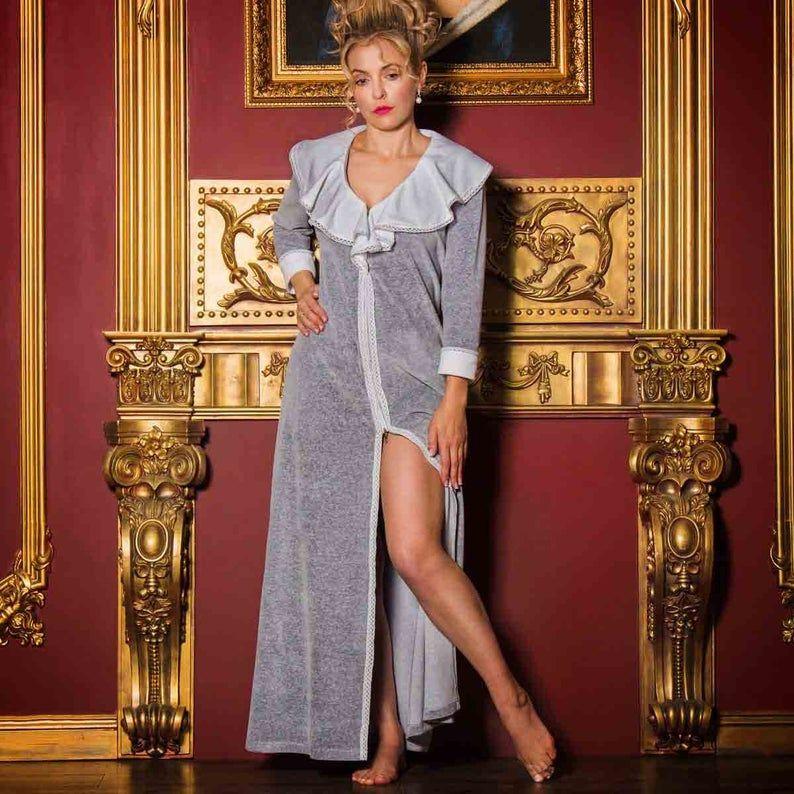 Uzun Kollu Ruffles Kış pijamalar Doll-Yaka Tam Boy Kadınlar Robe Bölünmüş Bornoz Pijama 2020 Yeni Balo Gelinlik Ev Giyim Şal