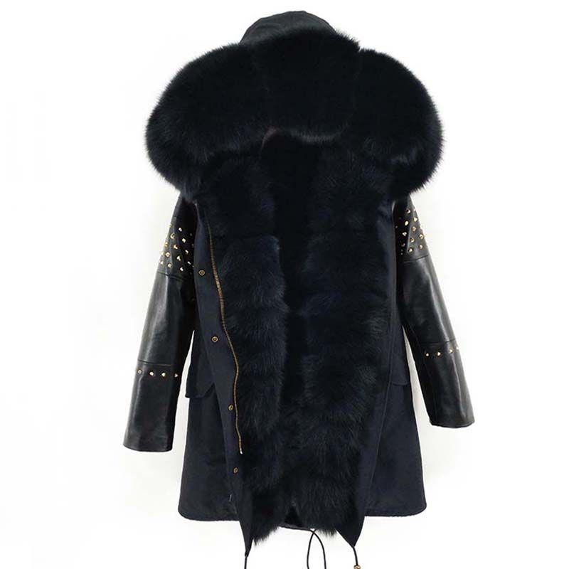 2019 Long Parka Real Fur Coat Winter Jacket Women Natural Sheepskin Leather Rivet Sleeves Outerwear Streetwear New Casual
