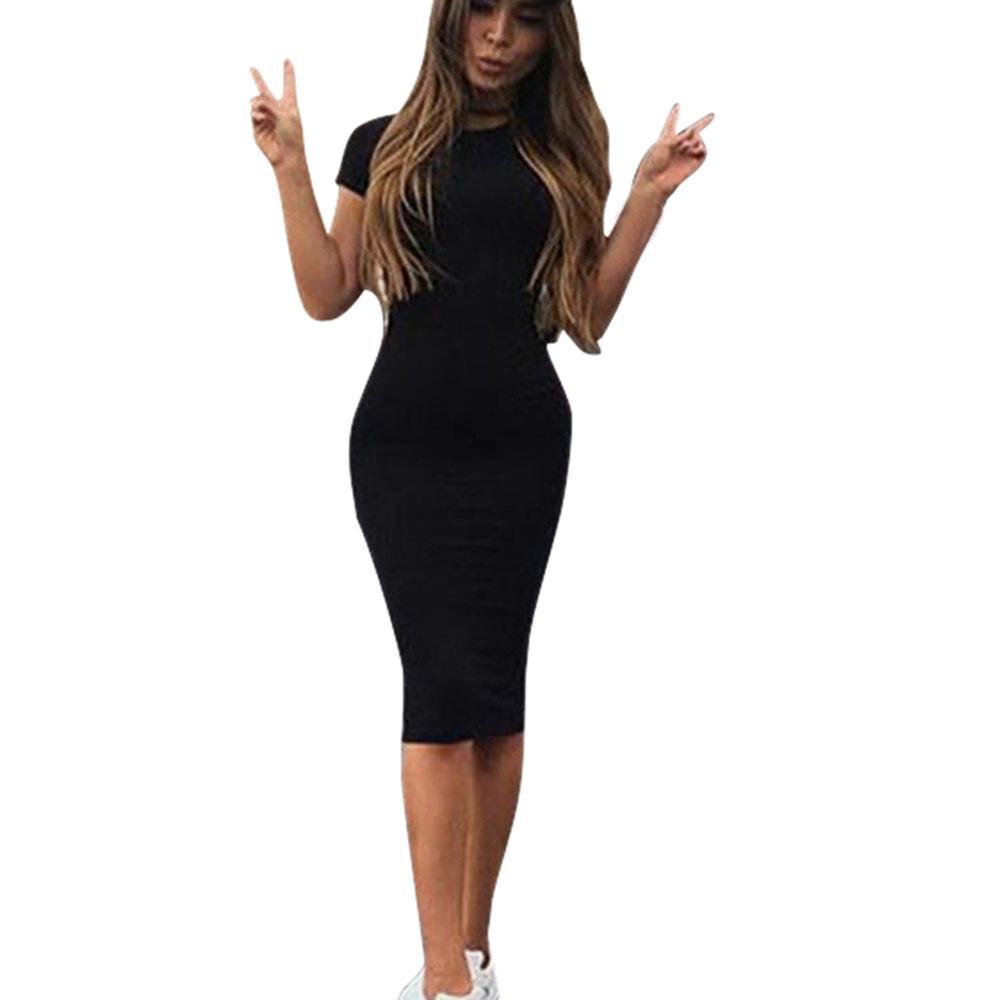 ZSIIBO 여자 드레스 Vestido 짧은 소매 슬림 Bodycon 원피스 · 튜닉 크루 넥 캐주얼 연필 드레스 새로운 도착 무료 배송