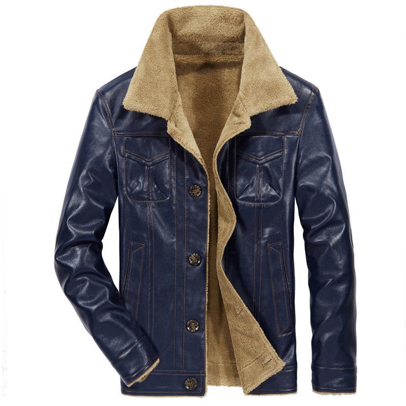 Tamaño más 7XL 8XL Hombres chaqueta de cuero de invierno de la motocicleta de la PU de cuero masculino bombardero chaquetas para hombre de la capa de abrigo paño grueso y suave de imitación