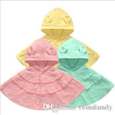 Baby Hooded Poncho Girls Princess Windproof Cloaks Outwear Double Shawl Scarf Cape Jackets Tops Coat Clothing Clothes DYP7043