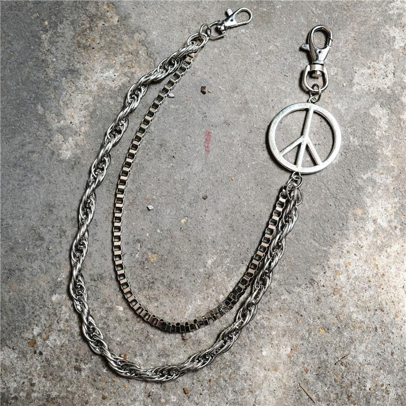 Metal 2 Layers Peace Ring Rock Punk Key Chains Clip Hip Hop Jewelry Pants KeyChain Wallet Chain Waist Chains