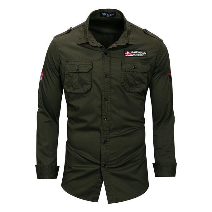 Outdoor-Mens Casual Shirts Revers Ausschnitt Army Green Plus Size Herren Shirts mit Taschen Stickerei Langarm