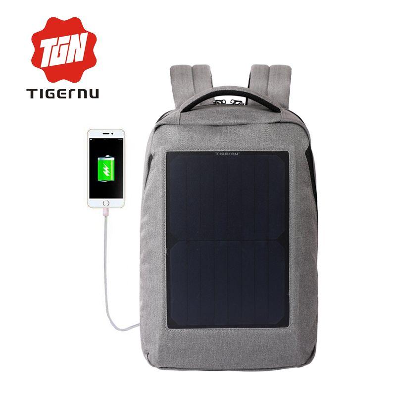 Tigernu جديد 10W تعمل بالطاقة الشمسية مضاد للسرقة حقيبة الظهر مع لوحة للطاقة الشمسية زجاجة حقيبة الرجل والمرأة حقيبة الكمبيوتر المحمول