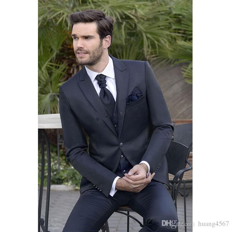 새 스타일 원 버튼 네이비 블루 웨딩 신랑 턱시도 피크 옷깃 신랑의 남자 복장 유모차 블레이져 (자켓 + 바지 + 조끼 + 넥타이) 158