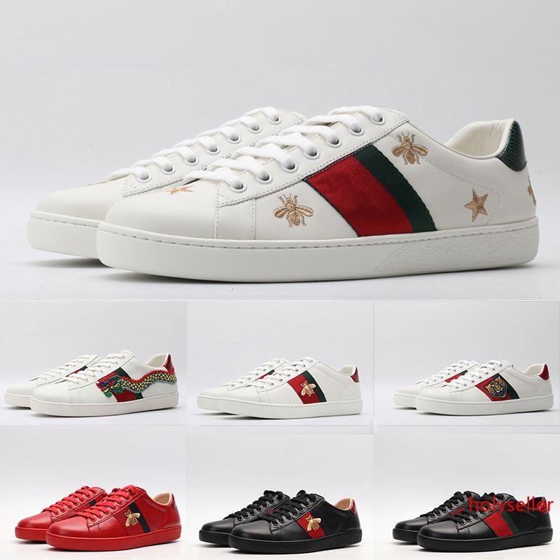 2020 модная обувь туза юаней Красный винтажный черный тройной белый кожаный Повседневная обувь на плоской платформе дизайнер мужчина женщина скейт платье обуви пчелка звезда