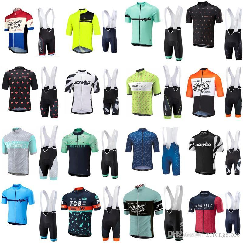 2019 Sommer Morvelo Radfahren Jersey Kurzarm Radtrikot Fahrradträgerhose gesetzt atmungsaktiv Straßenfahrrad Kleidung Ropa Ciclismo zefengst
