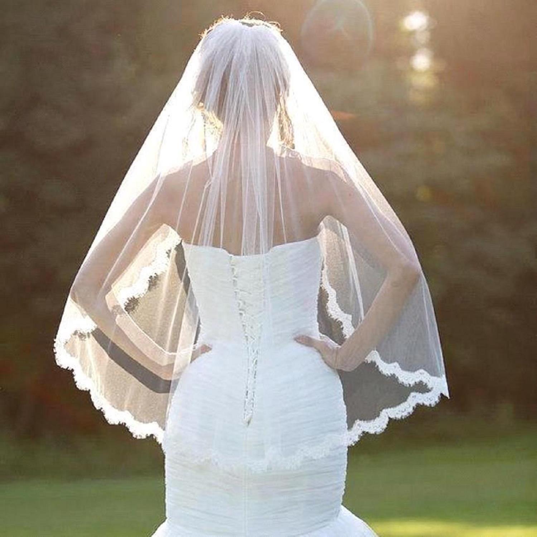 2019 En Kaliteli Düğün Aksesuarları Real Fotoğraf Şık Beyaz Kısa Düğün Veil kuş kafesi Fildişi Gelin bir katman Veil Dantel Kenar 1 * 1.5 M