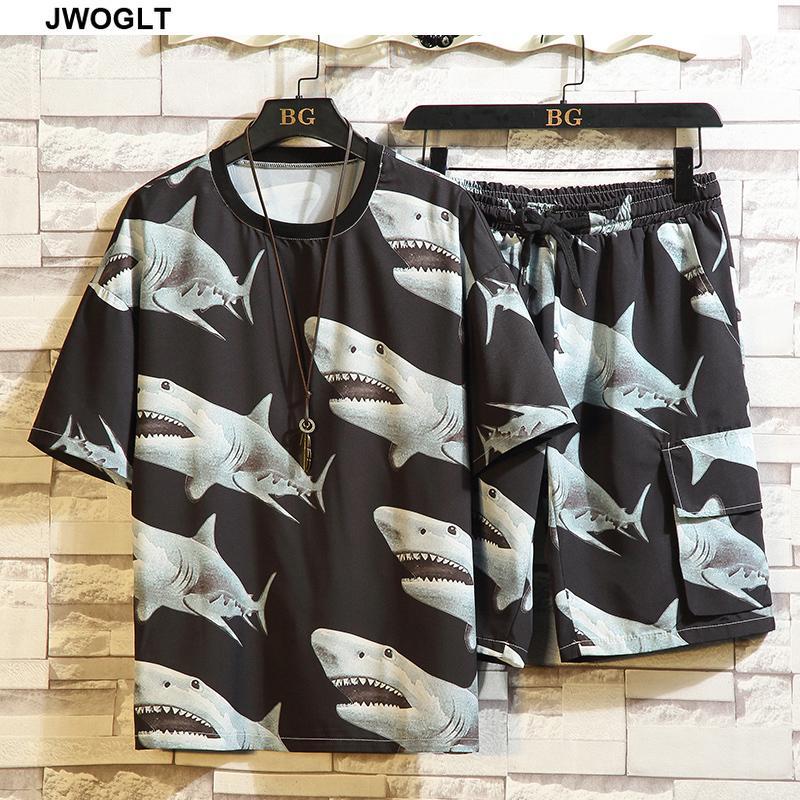 Мужские трексуиты 15 стилей 2 штуки набор летние представленные печатные стритюва трексуита повседневные мужские шорты + с коротким рукавом футболка 4XL 5XL