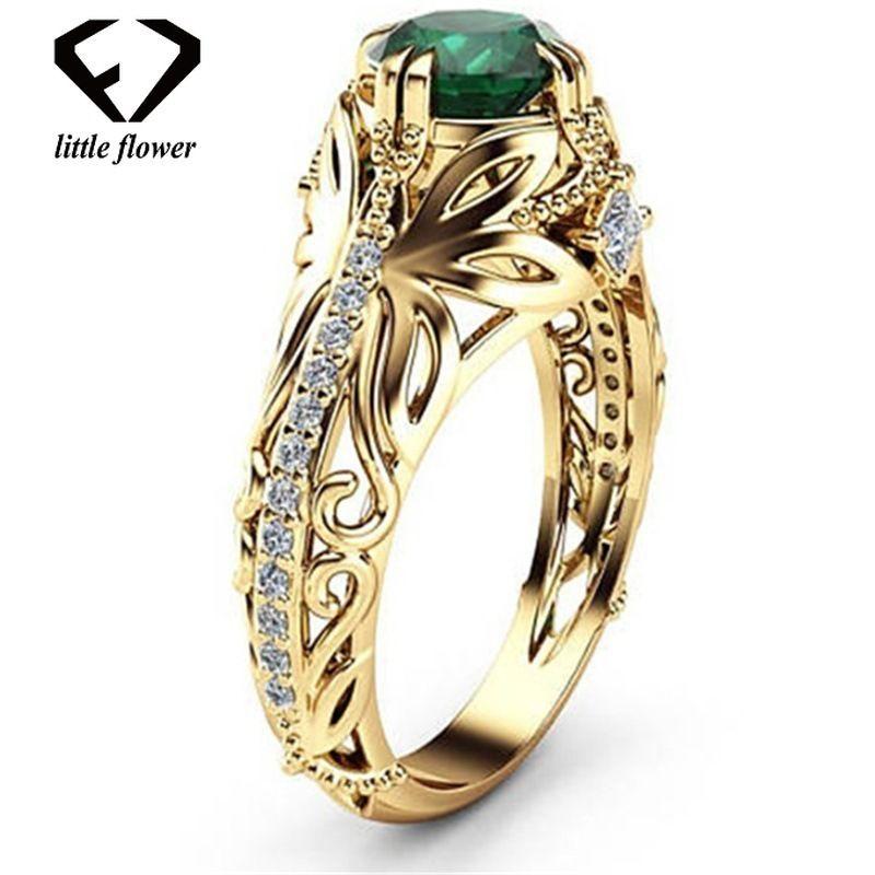 Esmeralda 14k Ouro Diamante De Casamento Anel De Diamante Jóias Emblema Bague Etoile Anillos De Bizuteria Para As Mulheres Esmeralda Jade Diamante Y19051603