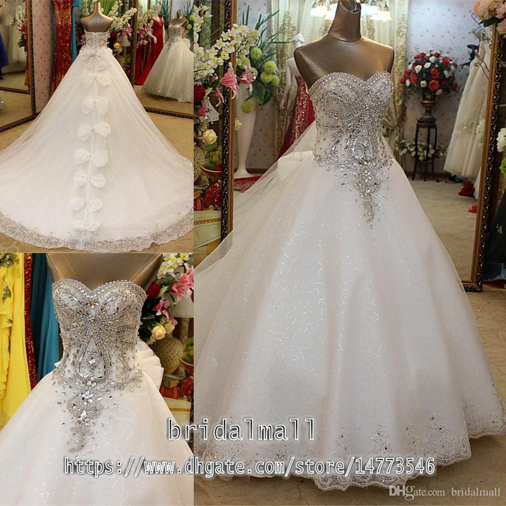 Nuove 2020 cristalli in rilievo Strass sfera di Tulle Abiti da sposa con Bowknots merletto dell'innamorato sposa abiti corsetto Indietro abiti di nozze