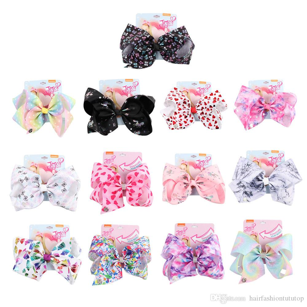 8 inch JOJO bow girl hair bows Flowers Mermaid Unicorn Design Ribbon Girl Clippers Girls Hair Clips JOJO SIWA Hair Accessories for Kids