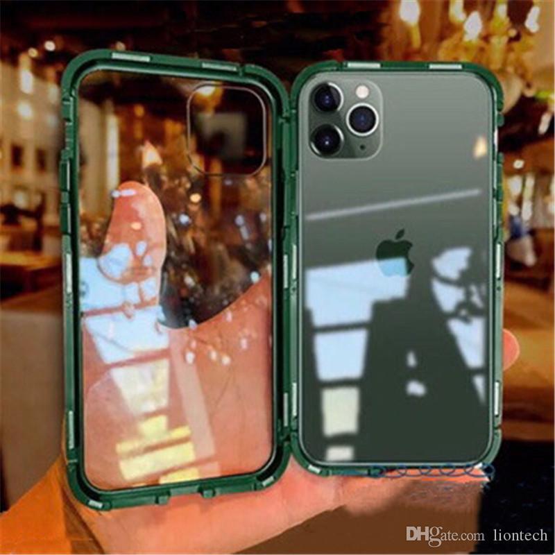 Pour iPhone 11 Pro Max magnétique Adsorption Métal Pare-chocs avant arrière en verre double couverture / haut 50pcs