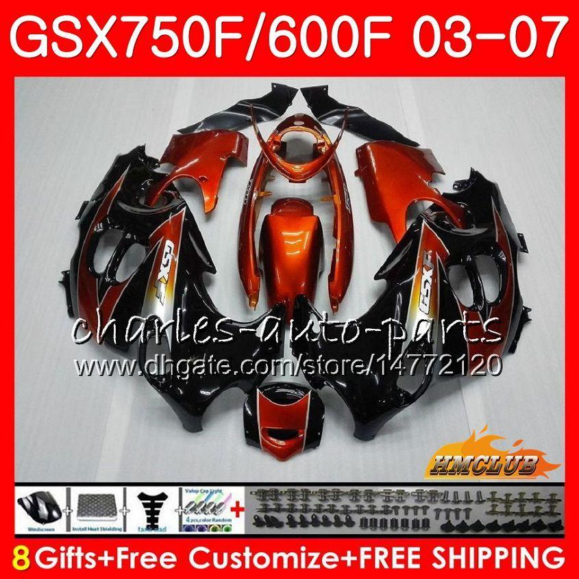 Kit de corpo para Suzuki Katana GSXF600 GSXF750 Orange Preto 03 04 05 06 07 3HC.59 GSX750F GSX600F GSXF 750 600 2003 2004 2005 2006 2007