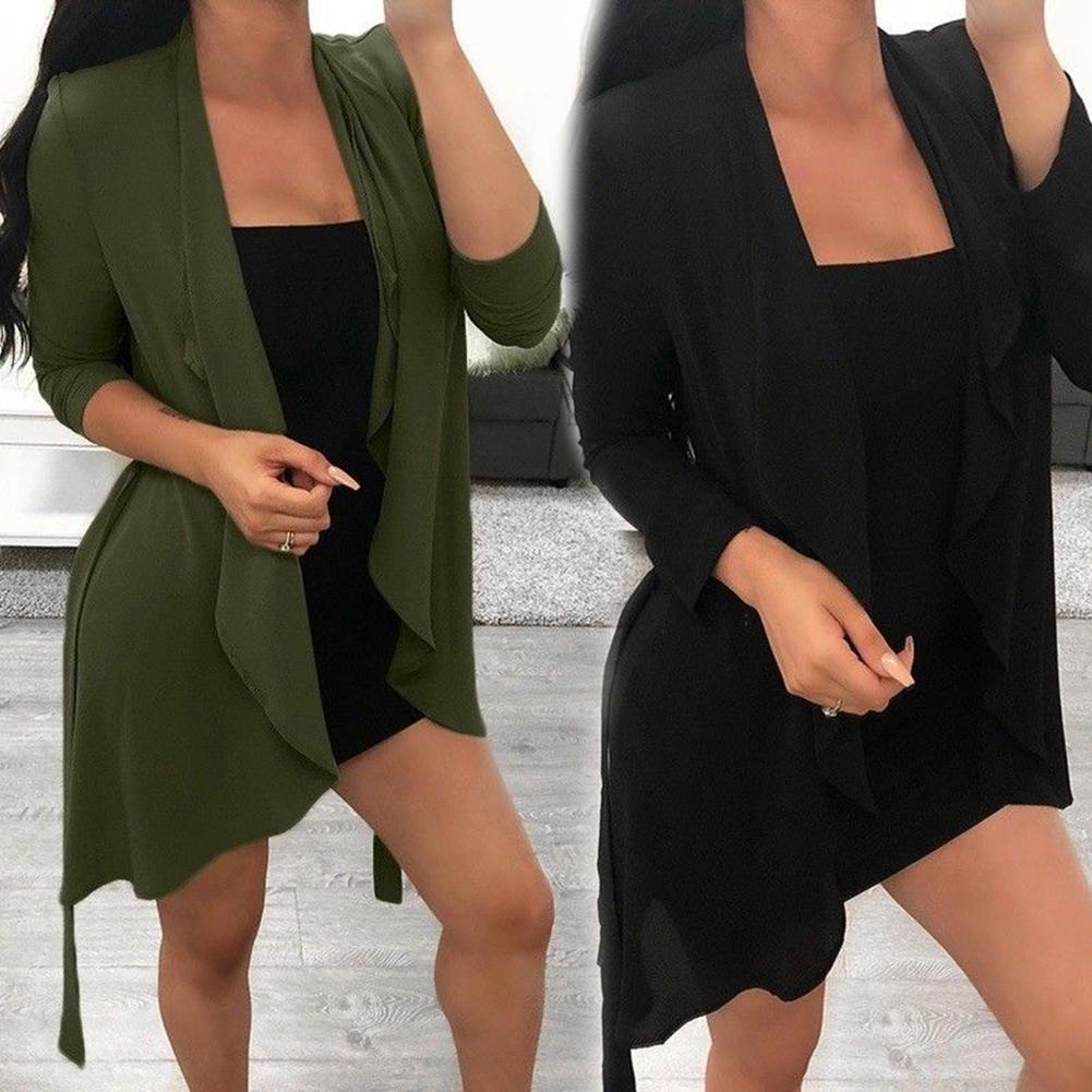 Fashion-Women Ladies Long Sleeve Waterfall Cardigan Belted Coat Jacket Outwear