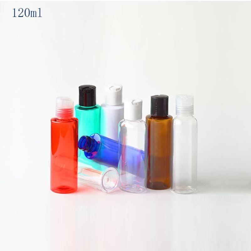 50PCS 120ML فارغة شامبو الحاويات البلاستيكية مع القرص الأعلى كاب، 120CC الصابون السائل الحيوانات الأليفة زجاجة الصحافة غطاء، مستحضرات التجميل التعبئة 4OZ