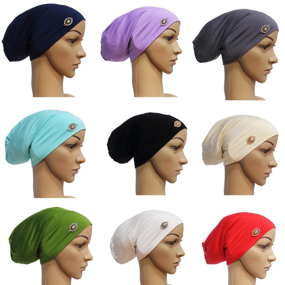 Frauen U-Cap Indien Cap Muslim Hijab-Kopf-Verpackung Haarausfall Baggy Beanie Chemo Hut Stretch Turban Haarausfall Abaya Kopftuch Bonnet