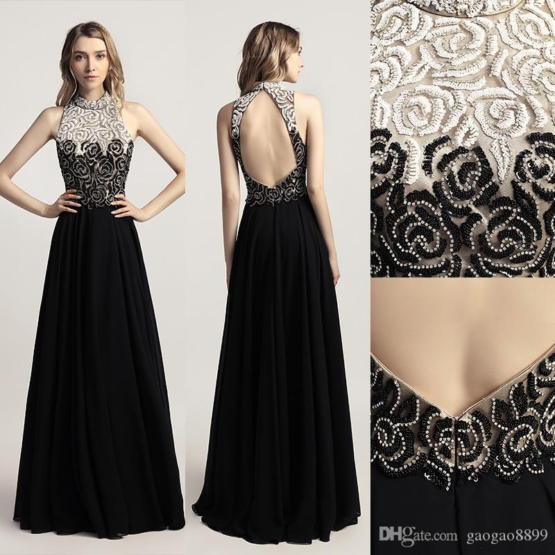 New Arrival Chiffon Black Long Prom Dresses with Full Top Beading High Neck Open Back Formal Evening Wear Cheap Party Gown LX419