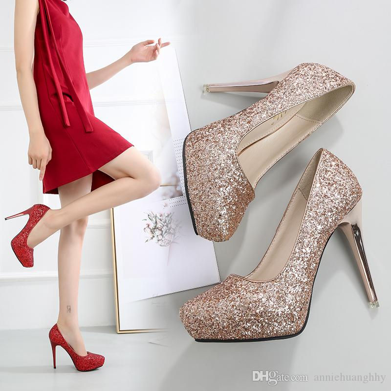 European Style Women's Shoes Fashion Glitter Wedding Shoes Sexy High Heels Platform Bling Female Pumps Pointed Toe