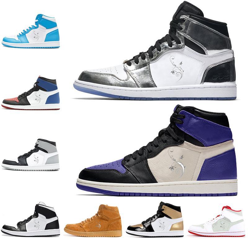 Новые баскетбольные кроссовки 1 1s проходят Факел корт фиолетовая тень красный черный мужчины женская обувь размер 5.5-13 подарок