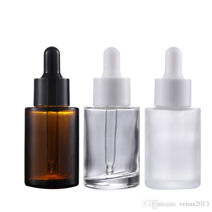 30ML متجمد / واضح / العنبر شقة زجاجات الكتف جوهر سميكة 1OZ زجاج القطارة الحاويات مع أبيض أسود اغطية