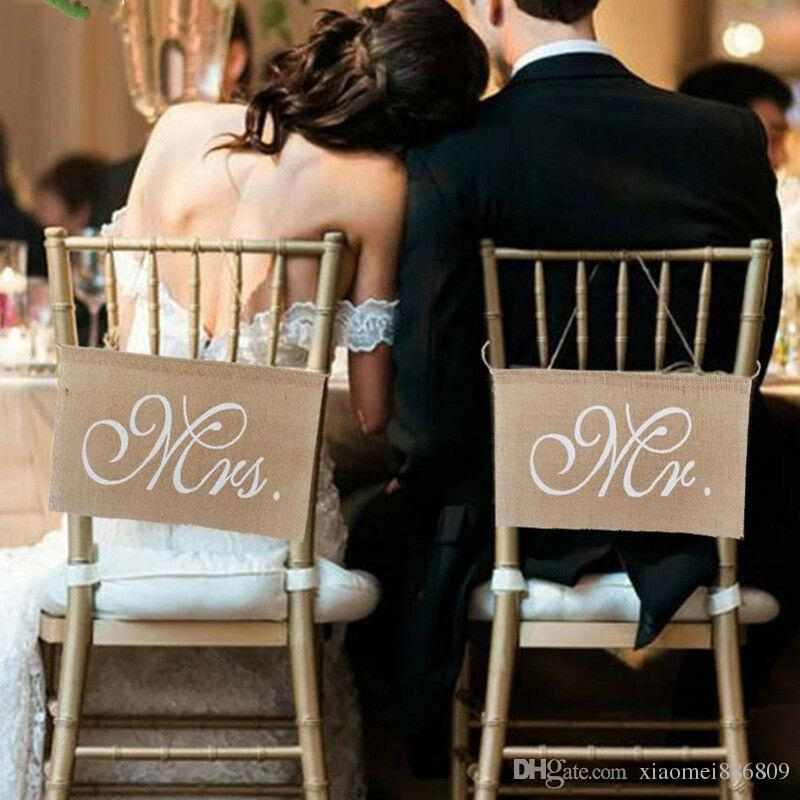 Mr. & Mrs. Chair Signs Burlap Lace Chair Banner Set Sign Wedding Decor