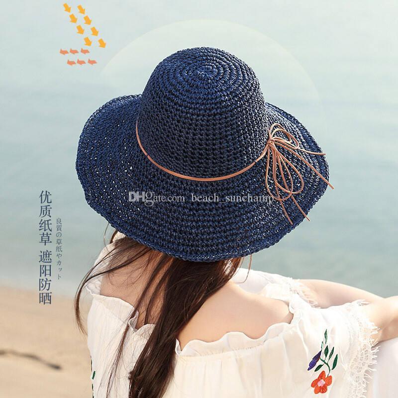 20ss Casas de paja plegables de vacaciones sombrero de playa sombrero ancho sombreros de altura de alta calidad sombrero de sol marea pescador sombreros 3 colores