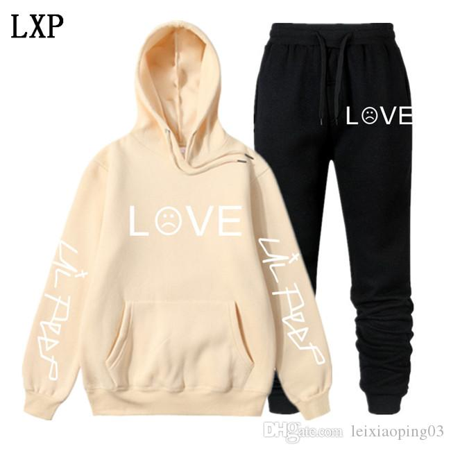 Lil pío con capucha de series de calentamiento Hombres Mujeres Winter / Fleece sudaderas con capucha + pantalones deportivos Trajes de Hip Hop Sudadera EL-6