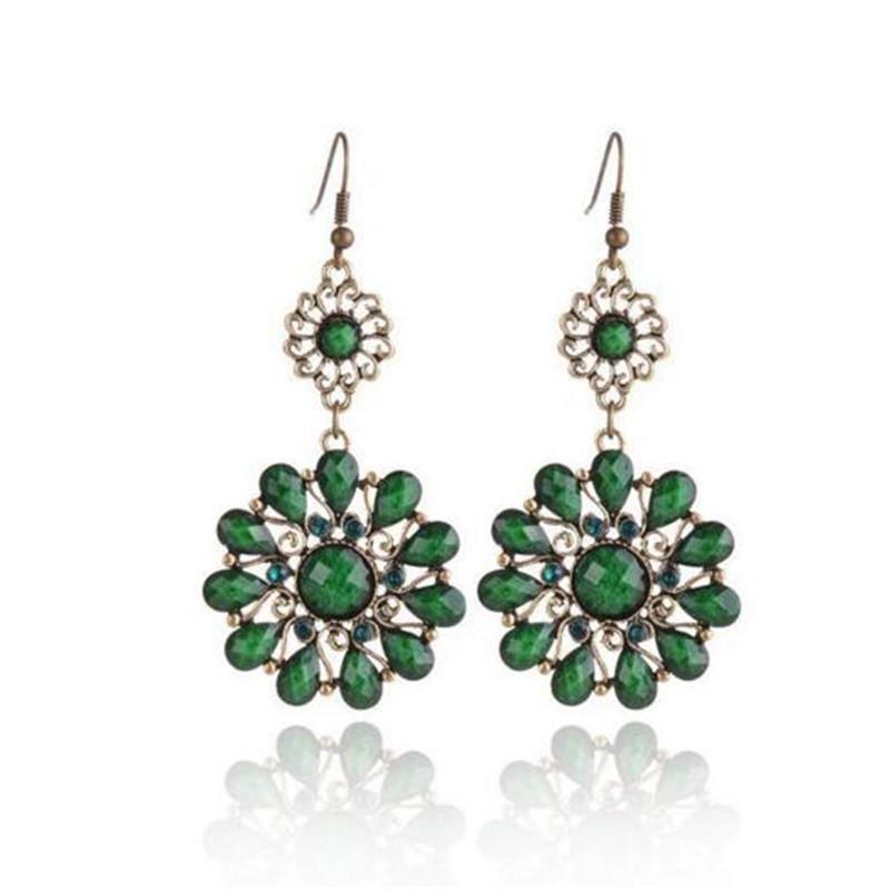 Orecchini moda austriaco gocce di cristallo di pietra del fiore Dangling orecchini per il regalo di Natale dei monili delle donne Rosso Verde Colore Grigio Charm