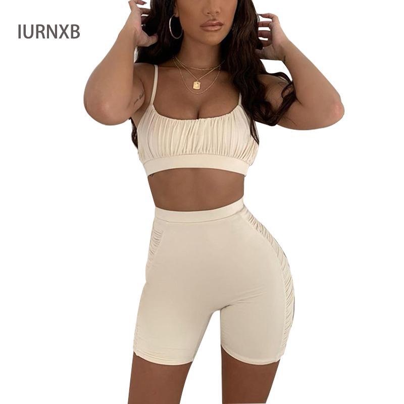 Kadın Tracksuits 2 adet Kıyafetler Spor Kaşkorse Crop Top Yaz moda Sportwear Spor Giyim T200623 ayarlar