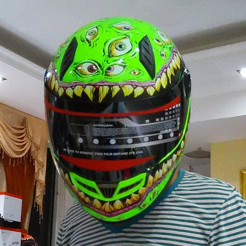 rally racing helmet Free shipping full face motorcycle helmet with horns motocross green off road professional