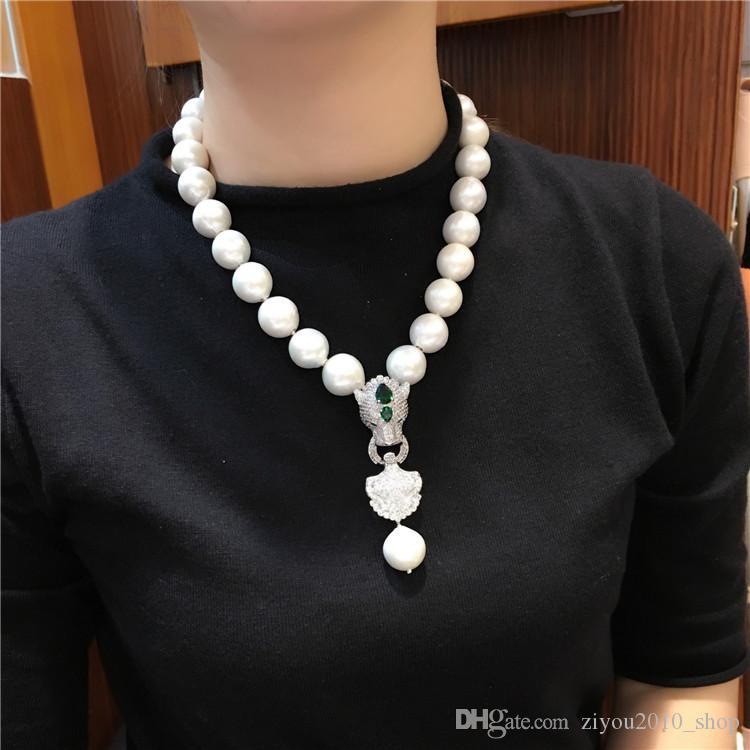 vendita calda europea americano naturale moda gioielli collana 13-14mm bianco barocco enorme perla