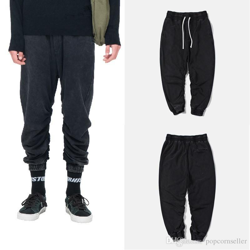 Mode Hommes Pantalons Pull mode vintage Washed en vrac Hommes Drawstring Pantalons Designer Street Style Pantalons Hip Pop