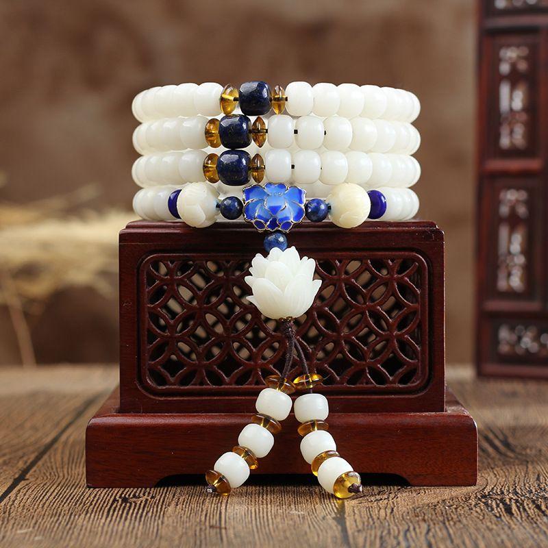 Budista Branco Natural Bodhi Raiz 108 Mala Bucket Beads Pulseira ou Colar com Cloisonne Lótus para Homens e Mulheres Por Atacado